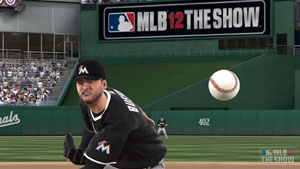 The seams of a ball spinning as a pitcher hurls a ball from the mound in MLB 12 The Show