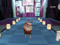 A puppy strutting down the catwalk in Barbie Groom & Glam Pups