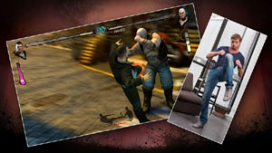 Split screen image with a player delivering a kick and the onscreen character delevering a kick in Fighters Uncaged
