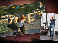A split screen defensive move done by the player and what occurs onscreen Fighters Uncaged