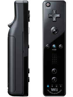 Close-up view of a black Wii Remote Plus controller