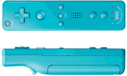 Front and side view of a blue Wii Remote Plus controller