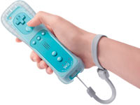 Blue Wii Remote Plus controller in-hand with strap and skin