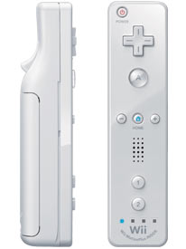 White Wii Remote Plus controller front and side view