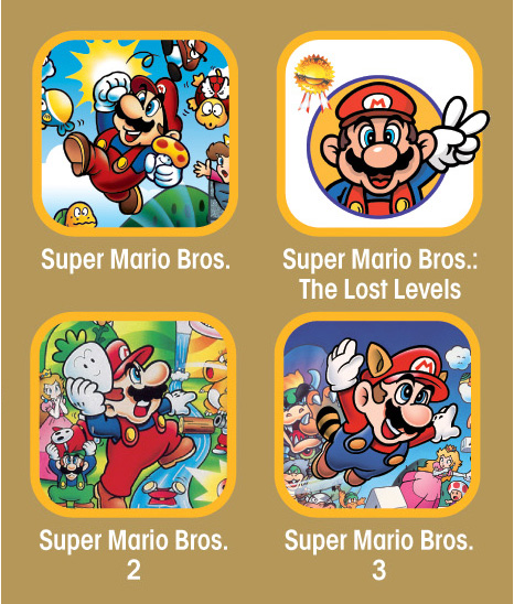 Four classic NES Super Mario Bros. games in one Wii collection.