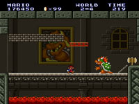 Mario trying to get by Bowser in the underworld from Super Mario Bros.