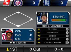 Pitching in Major League Baseball 2K11 for DS