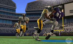 The swarming Steelers defense in action Madden NFL Football 3DS