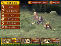 Screenshot illustrating the three character battle system from Radiant Historia