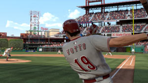 A leftie pulling a ball down the line in MLB 11: The Show