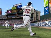 Running a ball down in front of the warning track in MLB 11: The Show