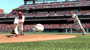 Ryan Howard digging a ball out at first base in MLB 11: The Show