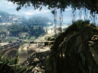 A sniper setting up for a long-distance shot from cover in Sniper: Ghost Warrior for PS3
