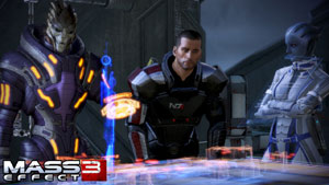 Shepard and friends planning strategy in Mass Effect 3