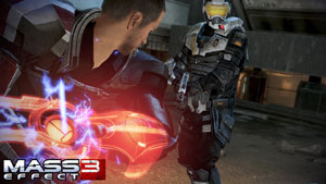 Shepard combating an enemy using the melee Omni-Blade embedded in his armor in Mass Effect 3