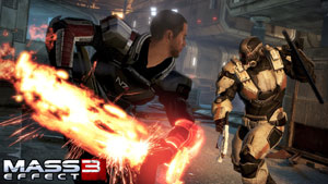 Shepard in melee combating using the melee Omni-Blade in Mass Effect 3