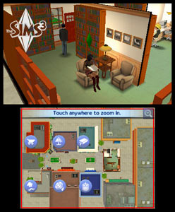 Dual screen view of The Sims 3 environment as seen in The Sims 3 3DS