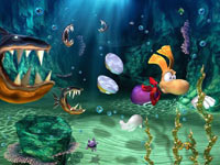 Rayman outswimming a few savage fish in Rayman 3D