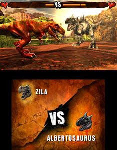 A customized dinosaur battling an Albertosaurus in Combat of Giant Dinosaurs 3D