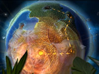 View of a gameworld as seen from space in Combat of Giant Dinosaurs 3D