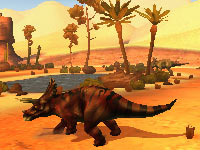 A triceratops in a desert environment in Combat of Giant Dinosaurs 3D