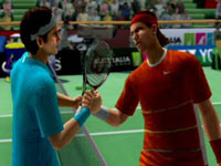 Roger and Rafa shaking hands at the net in Virtua Tennis 4 for Wii