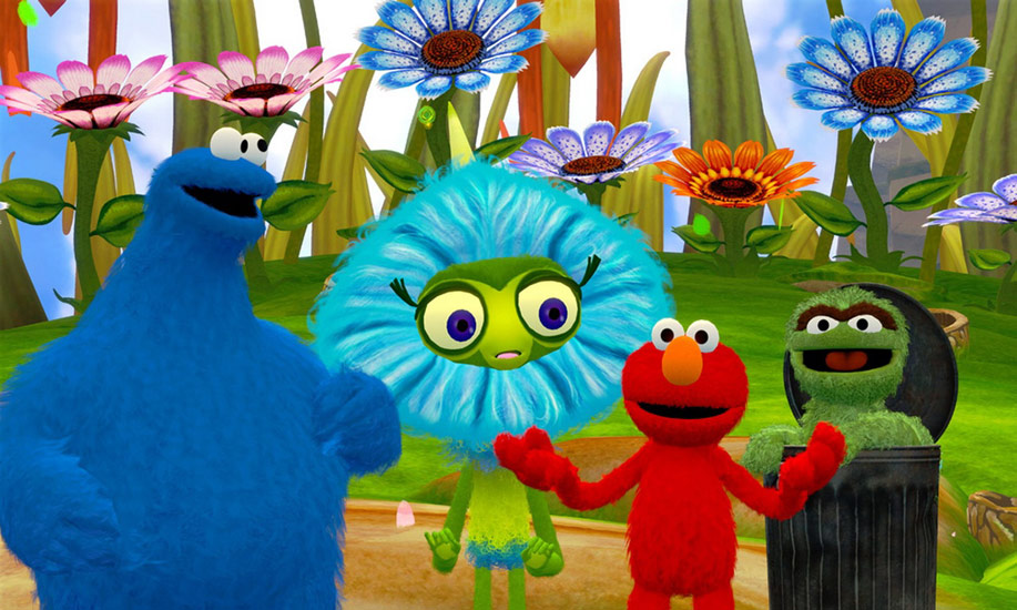 Cookie Monster, Elmo and Oscar the Grouch with new friend in Sesame