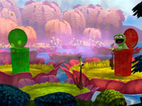 A co-op game Sesame Street: Once Upon A Monster screenshot featuring Oscar the Grouch