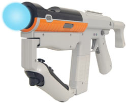 The PlayStation Move sharp shooter gun peripheral with the Move motion controller and navigational controller