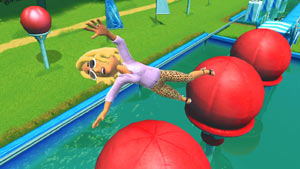 An Xbox LIVE avatar out of control over the Big Balls in Wipeout: in the Zone