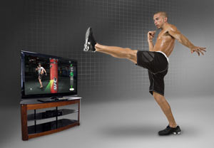 Executing a kick routine against the heavy bag in the Xbox 360 version of UFC Personal Trainer: The Ultimate Fitness System
