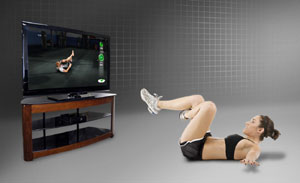 A female user doing an abs and leg exercise in the Xbox 360 version of UFC Personal Trainer: The Ultimate Fitness System