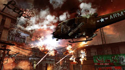 US gunship firing at ground targets in an urban Vietnamese setting in Call of Duty: Black Ops