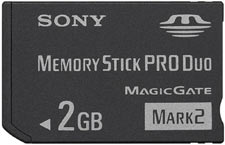 The 2 GB memory stick PRO Duo included in the PSP-3000 Limited Edition Father's Day Bundle Entertainment Pack