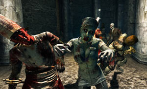 An assortment of uniformed zombies coming at you in Rise of Nightmares