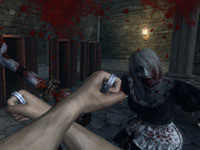 Using brass knuckles on a zombie in Rise of Nightmares