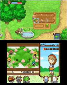 A farming screenshot from Harvest Moon 3D: Tale of Two Towns