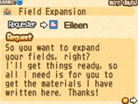 In-game quest bulletin board from Harvest Moon 3D: Tale of Two Towns
