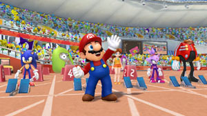 Mario, Sonic and other characters lined up for the 100-meter sprint in Mario & Sonic at the London 2012 Olympic Games