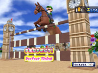 Luigi riding in the new equestrian Showjumping event from Mario & Sonic at the London 2012 Olympic Games
