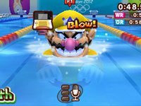 Providing Wario with oxygen in the breaststroke event in Mario & Sonic at the London 2012 Olympics