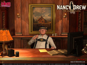 The Burgermeister behind his desk in Nancy Drew: The Captive Curse