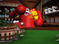 A Mii character winding up a Pokémon toy in Pokémon Rumble Blast