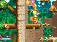 Platforming screenshot from Kirby's Return to Dream Land