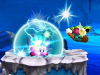 Kirby using the Spark ability in Kirby's Return to Dream Land