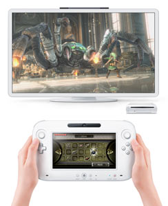 The Wii U system showing the new controller, console and TV