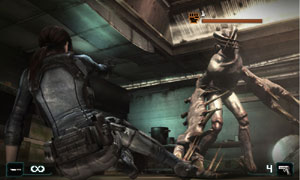 Jill Valentine ending an attacking enemy in Resident Evil: Revelations