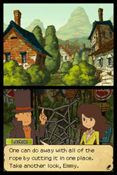 Emmy solving a puzzle with encouragement from Layton in Professor Layton and the Last Specter