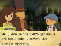 Emmy, Layton and Luke awaiting the arrival of the Specter in Professor Layton and the Last Specter
