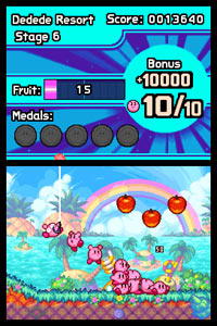 Side-scrolling challenge from Kirby: Mass Attack